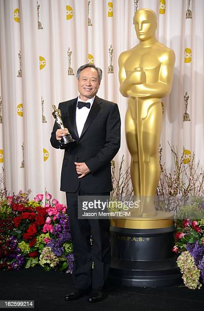 Director Ang Lee winner of the Best Director award for 'Life of Pi' poses in the press room during the Oscars held at Loews Hollywood Hotel on...