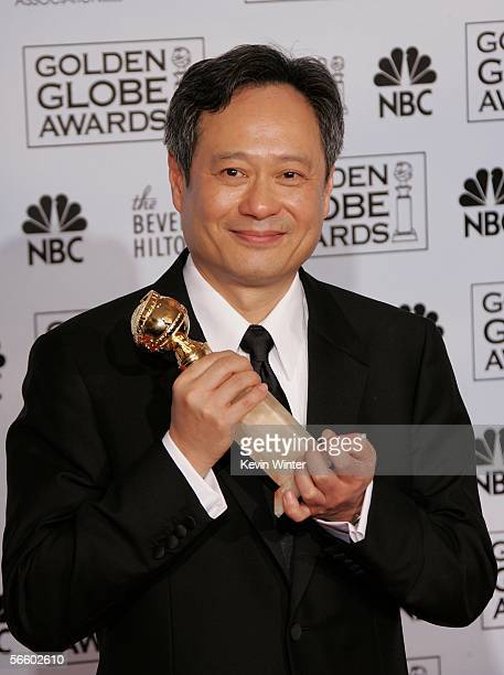 Director Ang Lee with his award for Best Director for Brokeback Mountain poses backstage during 63rd Annual Golden Globe Awards at the Beverly Hilton...