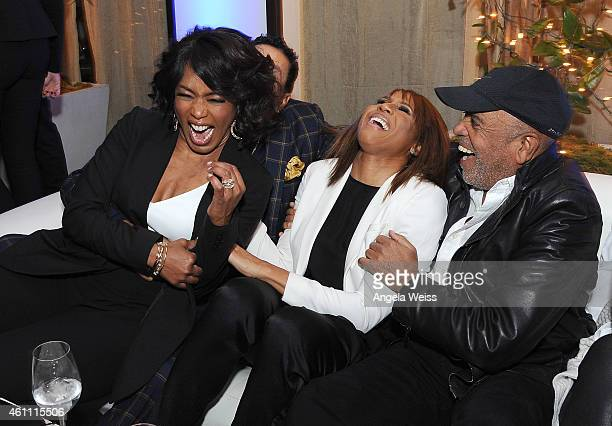 Director Angela Bassett singer Deborah Cox and record producer Berry Gordy attend the premiere after party of Lifetime's Whitney at Spago on January...