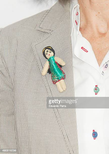 Director Angeles Gonzalez Sinde brooch detail attends 'Tu rostro habla de ti' photocall at Press Palace on September 29 2015 in Madrid Spain