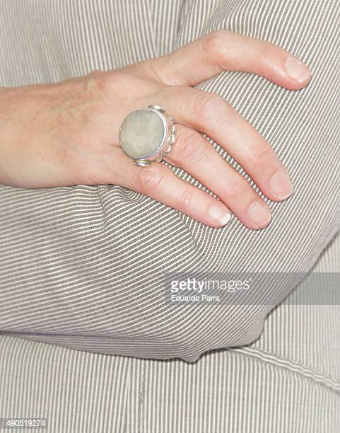 Director Angeles Gonzalez Sinde ring detail attends 'Tu rostro habla de ti' photocall at Press Palace on September 29 2015 in Madrid Spain