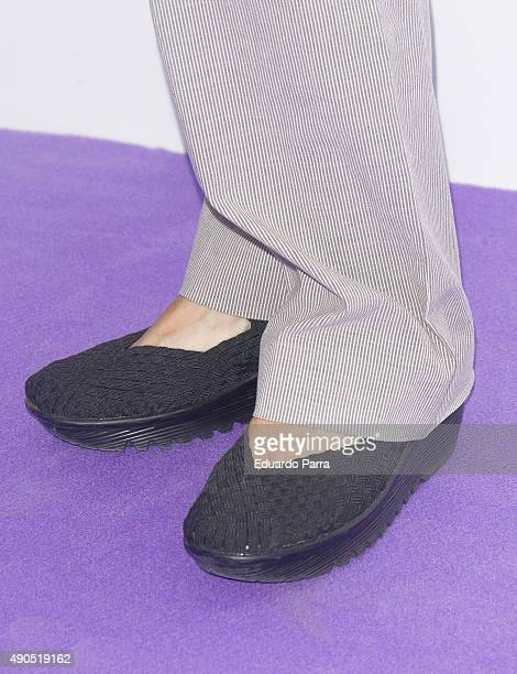 Director Angeles Gonzalez Sinde shoes detail attends 'Tu rostro habla de ti' photocall at Press Palace on September 29 2015 in Madrid Spain