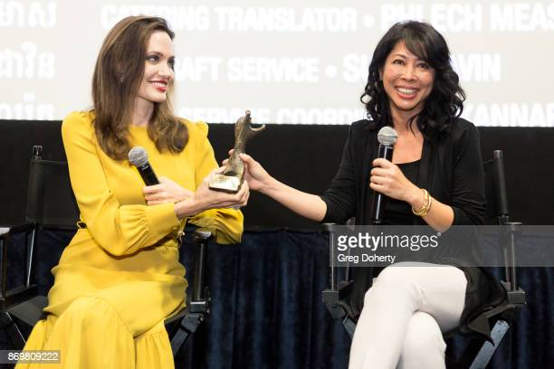 Director Angelina Jolie and Author Loung Ung attend a QA following a screening of the movie 'First They Killed My Father' as Angelina Jolie Accepts...