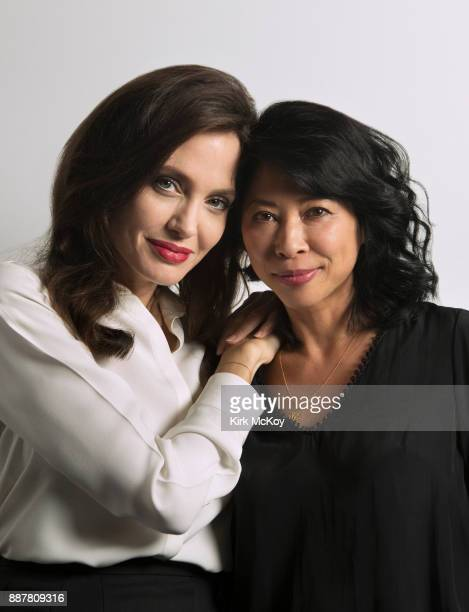 Director Angelina Jolie and writer Loung Ung of Netflix's 'First They Killed My Father' are photographed for Los Angeles Times on September 25 2017...