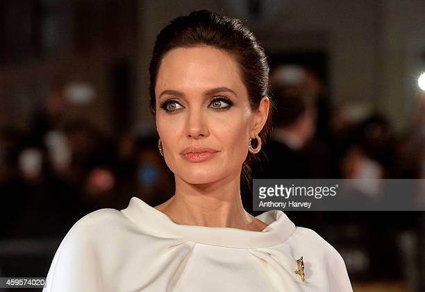 "Director Angelina Jolie attends the UK Premiere of ""Unbroken"" at Odeon Leicester Square on November 25, 2014 in London, England."
