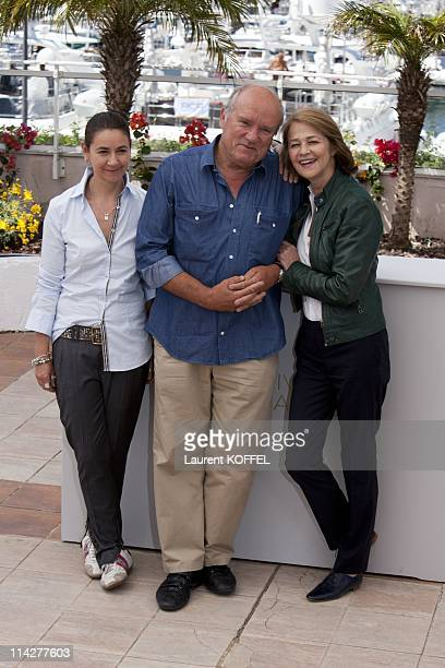 Director Angelina Maccarone Peter Lindbergh and actress Charlotte Rampling attend 'The Look' photocall during the 64th Annual Cannes Film Festival at...