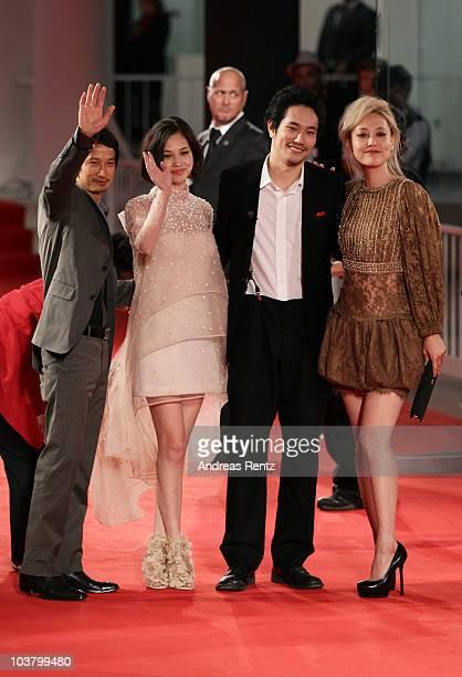Director Anh Hung Tran actress Kiko Mizuhara Actor Kenichi Matsuyama and actress Rinko Kikuchi attend the Norwegian Wood premiere during the 67th...