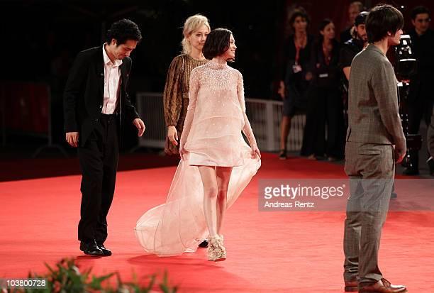 Director Anh Hung Tran actress Kiko Mizuhara actress Rinko Kikuchi and actor Kenichi Matsuyama attend the Norwegian Wood premiere during the 67th...