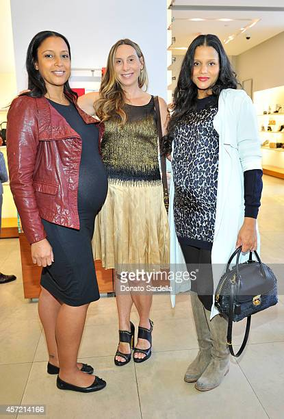 Director Anika Poitier host Jacqui Getty and actress Sydney Tamiia Poitier attend Ferragamo Shopping Event with Jacqui Getty benefitting Baby2Baby at...