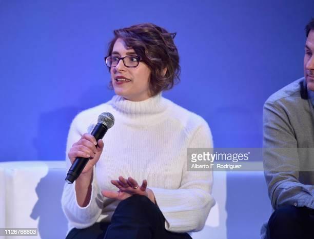 Director Anna Boden speaks onstage during Marvel Studios' 'Captain Marvel' Global Junket Press Conference at The Beverly Hilton Hotel on February 22...
