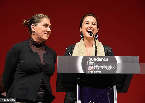 Director Anna Muylaert and actress Camila Mardila of 'The Second Mother' accept the World Cinema Special Jury Prize for Acting on behalf of Regina...
