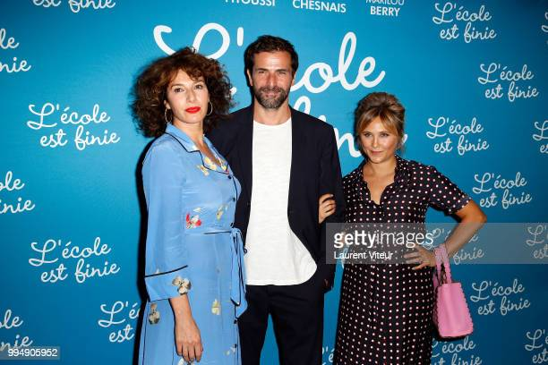 Director Anne Depetrini Actor Gregory Fitoussi and Actress Berengere Krief attend L'Ecole est Finie Paris Premiere at UGC Cine Cite Bercy on July 9...