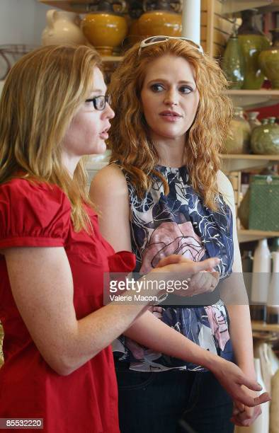 Director Annie Lukowski and actress Leyna Juliet Weber pose on the set of on the MWG Enertainment New Web Series 'Road to the Altar' March 20 2009 in...