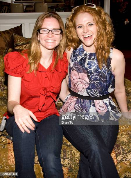 Director Annie Lukowski and actress Leyna Weber pose at the New Web Series 'Road to the Alter' On Set Photo Op at Pier 1 Imports on March 20 2009 in...