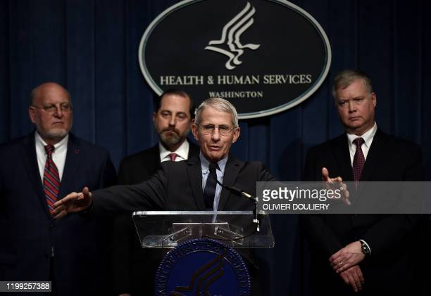 Director Anthony Fauci speaks as Health and Human Services Secretary Alex Azar Centers for Disease Control and Prevention director Robert R Redfield...