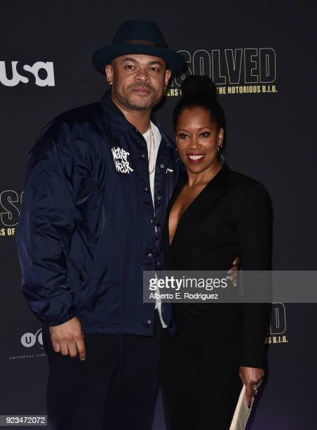 Director Anthony Hemmingway and actress Regina King attend the premiere of USA Network's 'Unsolved The Murders of Tupac and The Notorious BIG at...
