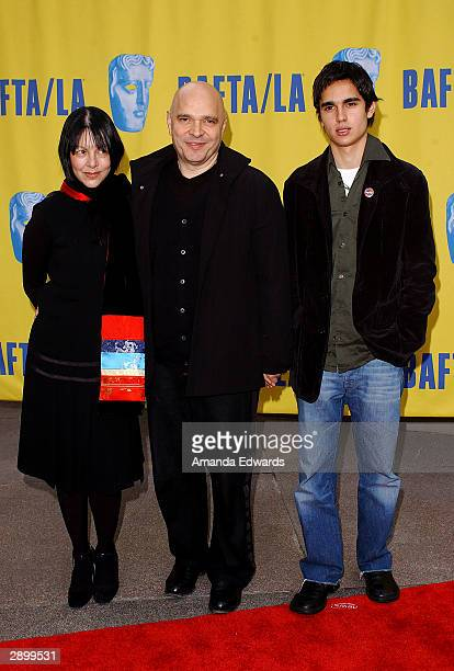 Director Anthony Minghella his wife Carolyn and son Max arrive at the 10th Annual BAFTA / LA Tea Party at The St Regis Hotel on January 24 2004 in...