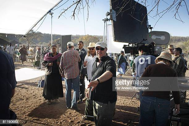 Director Anthony Minghella talks with American Actress Jill Scott and South African Actor Tumisho Mashaon on the set of The No 1 Ladies Detective...