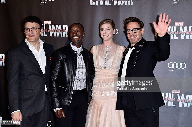 Director Anthony Russo Actors Don Cheadle Emily VanCamp and Robert Downey Jr attend 'Captain America Civil War' Premiere at Le Grand Rex on April 18...