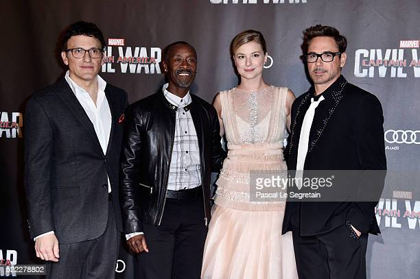 Director Anthony Russo Actors Don Cheadle Emily VanCamp and Robert Downey Jr attend Captain America Civil War Premiere at Le Grand Rex on April 18...