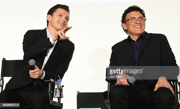 Director Anthony Russo and Tom Holland attend the Japan premiere of 'Avengers Infinity War' at the Toho Cinemas Hibiya on April 16 2018 in Tokyo Japan