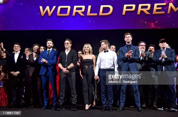 Director Anthony Russo, Mark Ruffalo, Chris Evans, Robert Downey Jr., Scarlett Johansson, Jeremy Renner, Chris Hemsworth, Executive producer Jon...
