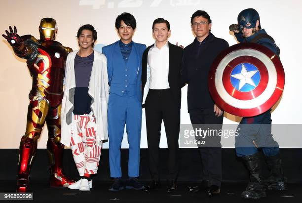 Director Anthony RussoTom Holland Junpei Mizobata and Gaku Sano attend the Japan premiere of 'Avengers Infinity War' at the Toho Cinemas Hibiya on...