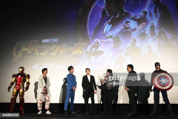 Director Anthony RussoTom Holland Junpei Mizobata and Gaku Sano attend the Japan premiere of 'Avengers Infinity War' at the Toho Cinemas Hibiya on...