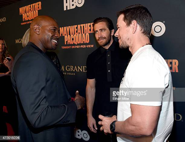 Director Antoine Fuqua actor Jake Gyllenhaal and actor Mark Wahlberg attend the SHOWTIME And HBO VIP PreFight Party for 'Mayweather VS Pacquiao' at...