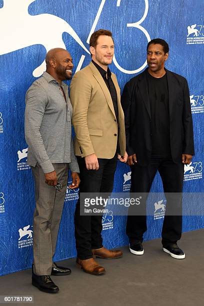 Director Antoine Fuqua actors Chris Pratt and Denzel Washington attend the photocall for 'The Magnificent Seven' during the 73rd Venice Film Festival...