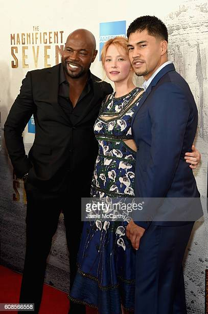 Director Antoine Fuqua actress Haley Bennett and actor Martin Sensmeier attends 'The Magnificent Seven' premiere at the Museum of Modern Art on...