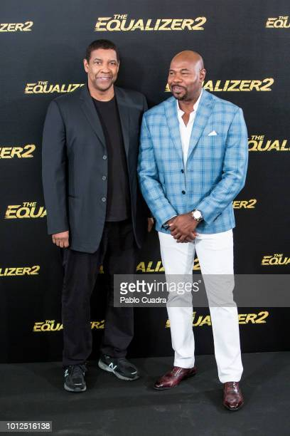 Director Antoine Fuqua and actor Denzel Washington attend 'The Equalizer 2' photocall at the Villamagna Hotel on August 7 2018 in Madrid Spain