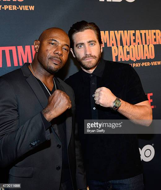 Director Antoine Fuqua and actor Jake Gyllenhaal attend the SHOWTIME And HBO VIP PreFight Party for 'Mayweather VS Pacquiao' at MGM Grand Hotel...