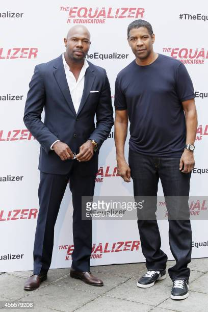 Director Antoine Fuqua and Denzel Washington attend the 'The Equalizer' photocall on at Hotel De Russie on September 17 2014 in Rome Italy