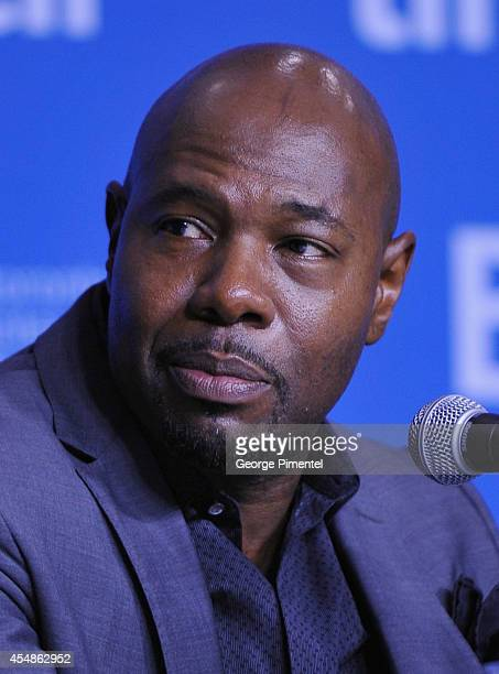 "Director Antoine Fuqua speaks onstage at ""The Equalizer"" Press Conference during the 2014 Toronto International Film Festival at TIFF Bell Lightbox..."