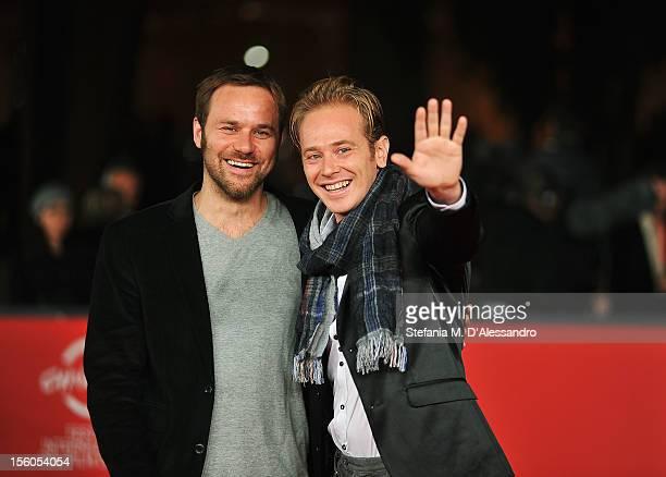 Director Antonello Schioppa and actor Francesco Mastrorilli attend the 'Gatto Del Maine' Premiere during the 7th Rome Film Festival at the Auditorium...