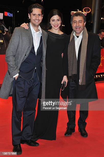 Director Antonio Chavarrias actress Barbara Lennie and actor Juan Diego Botto attend the Dictado Premiere during day three of the 62nd Berlin...