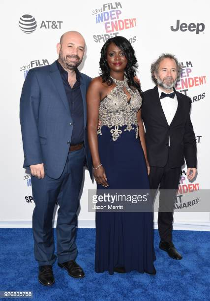 Director Antonio Mendez Esparza actor Regina Williams and producer Pedro Hernandez Santos attend the 2018 Film Independent Spirit Awards on March 3...