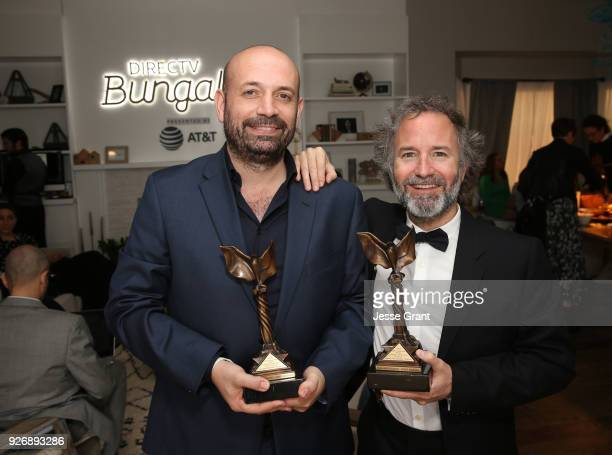 Director Antonio Mendez Esparza and producer Pedro Hernandez Santos winners of the John Cassavetes Award for 'Life and Nothing More' pose at the...