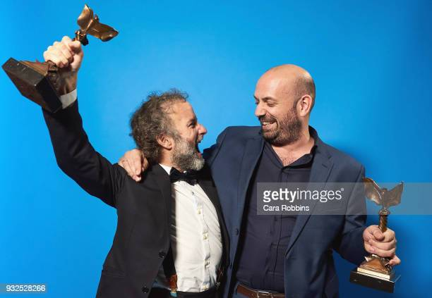 Director Antonio Mendez Esparza and producer Pedro Hernandez Santos accept the John Cassavetes Award attends the 2018 Film Independent Spirit Awards...