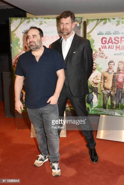 Director Antony Cordier and actor Johan Heldenbergh attend the 'Gaspard va au mariage' premiere at UGC Cine Cite des Halles on January 29 2018 in...