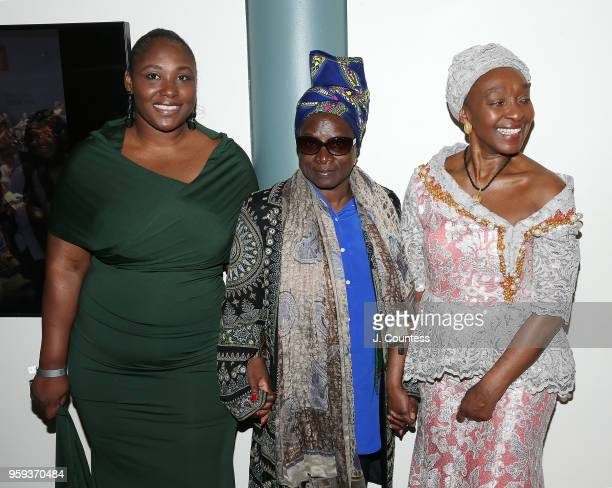 Director Apolline Traor singer Angelique Kidjo and founder of the New York African Film Festival Mahen Bonetti attend the opening night of the 25th...