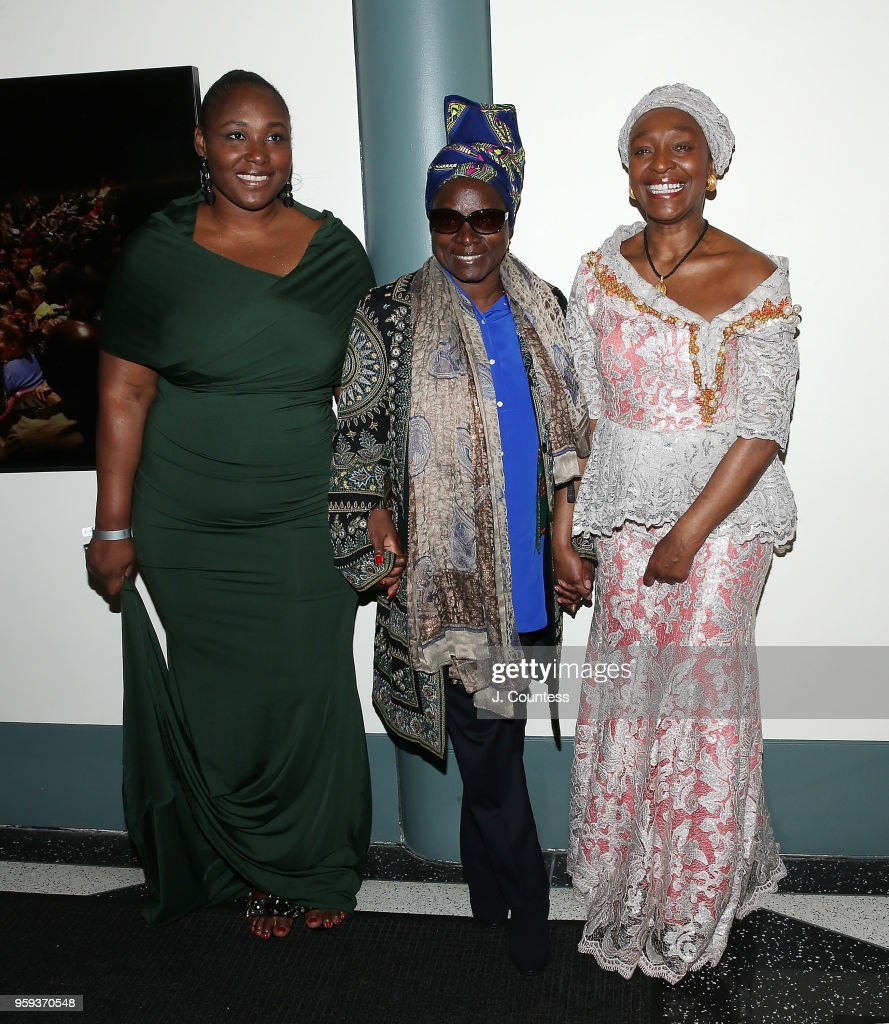 Director Apolline Traor, singer Angelique Kidjo and founder of the New York African Film Festival Mahen Bonetti attend the opening night of the 25th African Film Festival at Walter Reade Theater on May 16, 2018 in New York City.
