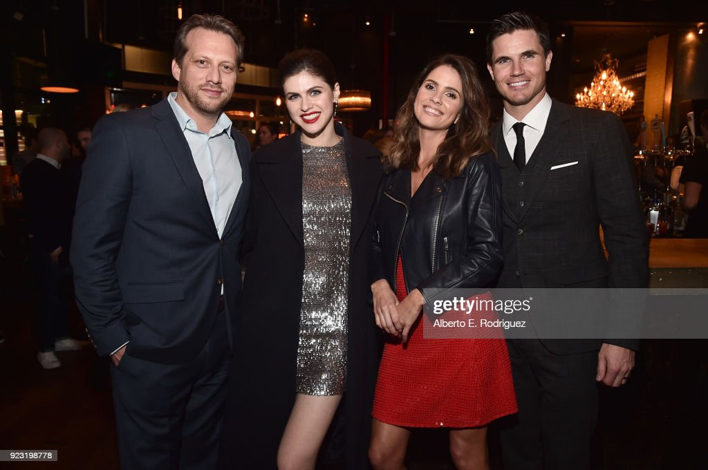 Director Ari Sandel, actors Alexandra Daddario, Shelley Hennig and Robbie Amell attend the after party for a special screening of Netflix's 'When We First Met' at ArcLight Hollywood on February 20, 2018 in Hollywood, California.
