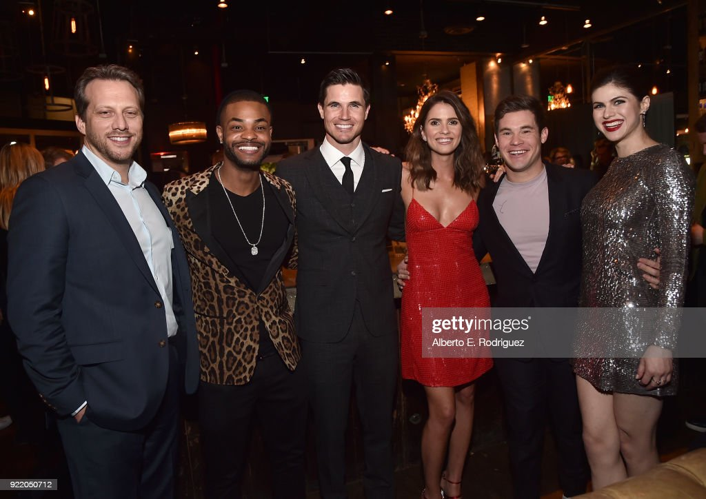Director Ari Sandel, actors Andrew Bachelor, Robbie Amell, Shelley Hennig, Adam Devine and Alexandra Daddario attend the after party for a special screening of Netflix's 'When We First Met' at ArcLight Hollywood on February 20, 2018 in Hollywood, California.