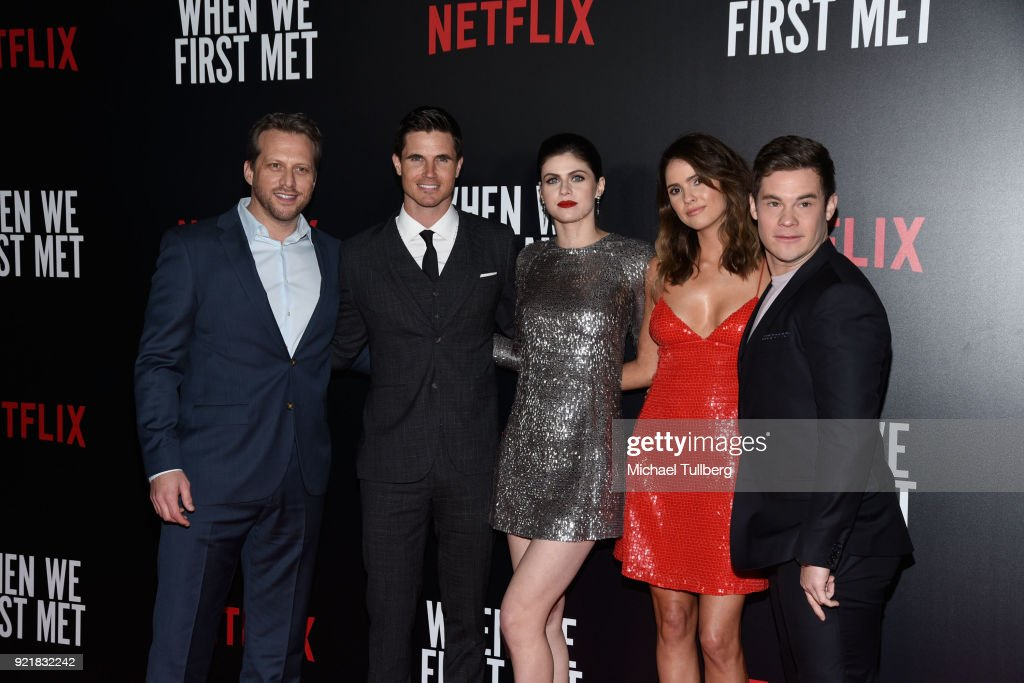 Director Ari Sandel and actors Robbie Amell, Alexandra Daddario, Shelley Hennig and Adam Devine attend a special screening of Netflix's 'When We First Met' at ArcLight Hollywood on February 20, 2018 in Hollywood, California.