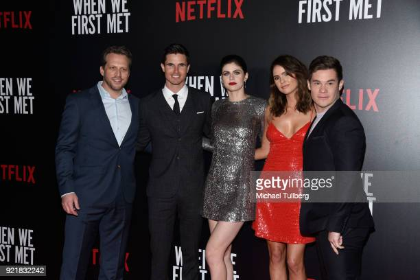 Director Ari Sandel and actors Robbie Amell Alexandra Daddario Shelley Hennig and Adam Devine attend a special screening of Netflix's 'When We First...