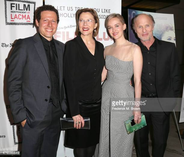 Director Arie Posin actresses Annette Bening and actress Jess Weixler and actor Ed Harris attend the Screening of IFC Films' The Face of Love at...