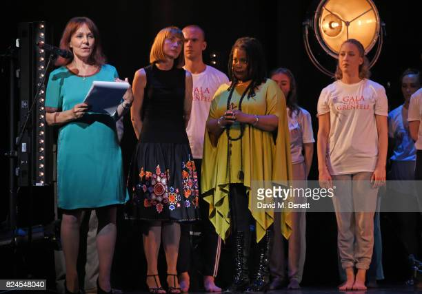 Director Arlene Phillips speaks as Grenfell community members Melanie Phelan and Judy Bolton look on at the curtain call during the 'Gala For...