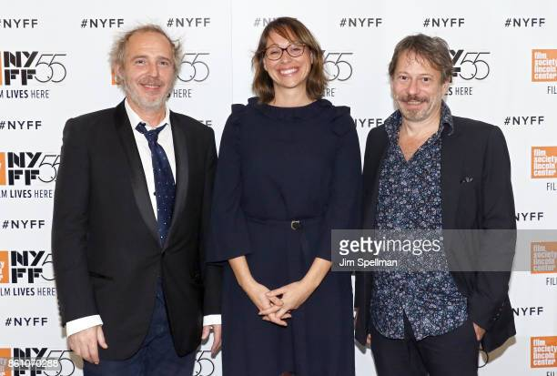 Director Arnaud Desplechin screenwriterJulie Peyr and director Mathieu Amalric attend the 55th New York Film Festival 'Ismael's Ghosts director's...